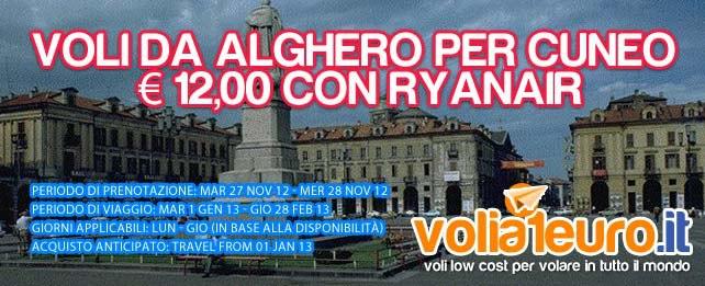 Voli da Alghero per Cuneo € 12,00 con Ryanair