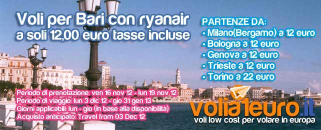 Voli per Bari a soli 12 euro!