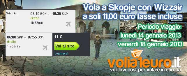 Vola a Skopje a soli 11 euro