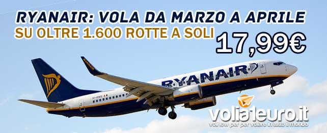 ryanair voli lowcost per marzo e aprile