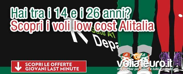 Alitalia: voli low-cost per giovani